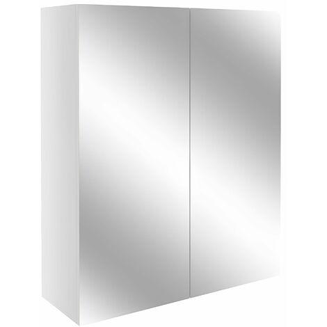 Signature Oslo 2-Door Mirrored Bathroom Cabinet 500mm Wide - Light Grey Gloss