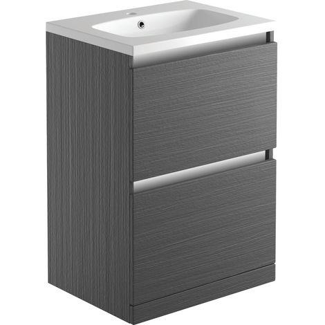 BTL Carino 600 2 Drw Floor Standing Vanity inc Basin - Graphitewood