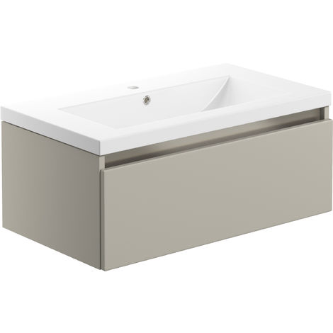 BTL Carino 800mm 1 Drawer Wall Hung Vanity Unit inc Basin Latte
