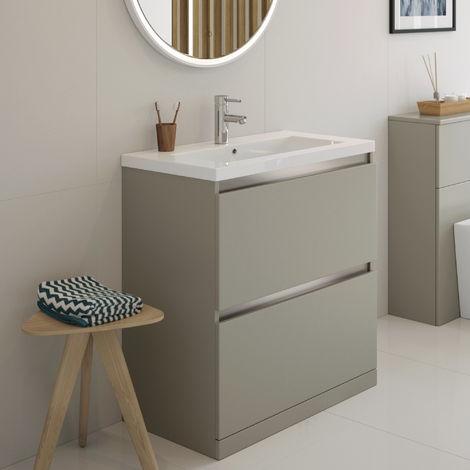 BTL Carino 800mm 2 Drawer Floor Standing Vanity Unit Inc. Basin Latte