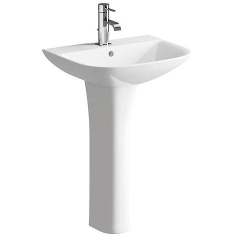 BTL Cedarwood 560x450mm 1TH Basin and Full Pedestal