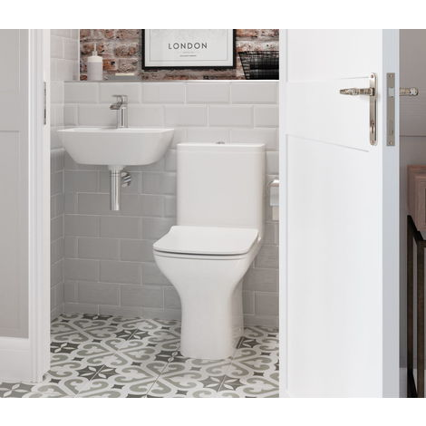BTL Cedarwood Close Coupled Open Back Toilet and Soft Close Seat