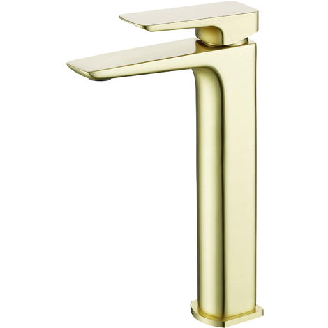 BTL Finissimo Mono Square Tall Deck Mounted Basin Tap Brushed Brass