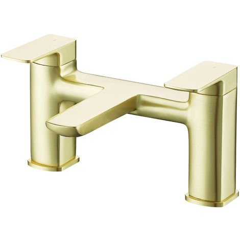 BTL Finissimo Square 2 hole Deck Mounted Bath Tap Brushed Brass