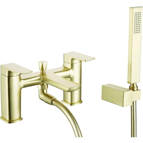 BTL Finissimo Square 2 Tap Hole Deck Mounted Bath Tap with Shower Brass