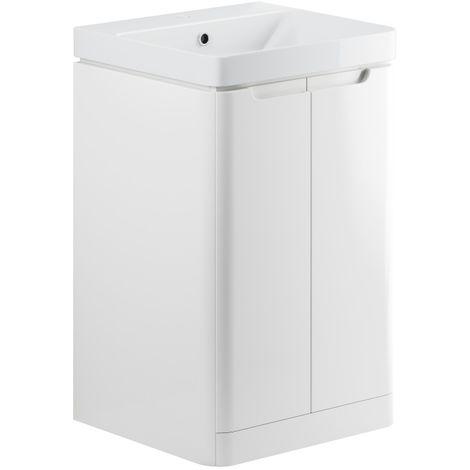 BTL Lambra 600mm 2 Door Floor Standing Vanity Unit - White Gloss