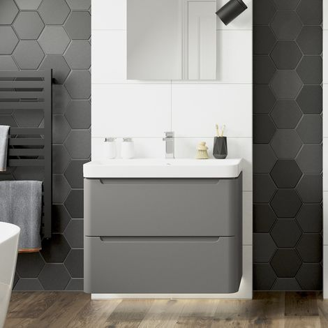 BTL Lambra 600mm Wall Hung Vanity Unit with Basin in Matt Grey