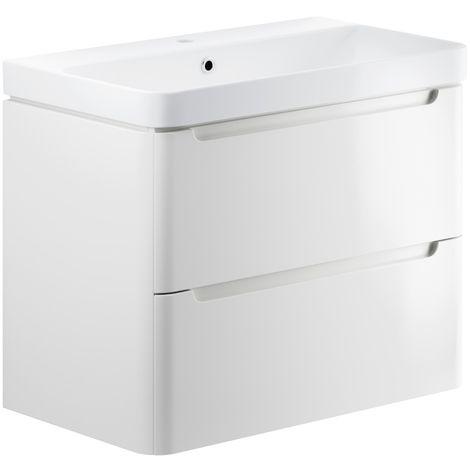 BTL Lambra 800mm 2 Drawer Wall Hung Vanity Unit - White Gloss