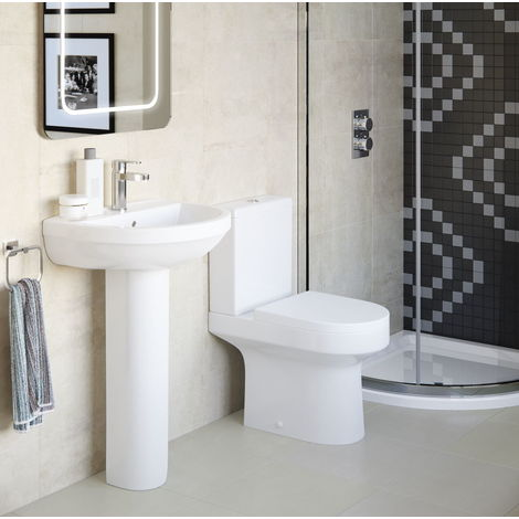 BTL Laurus2 Close Coupled Open Back Toilet and Soft Close Seat