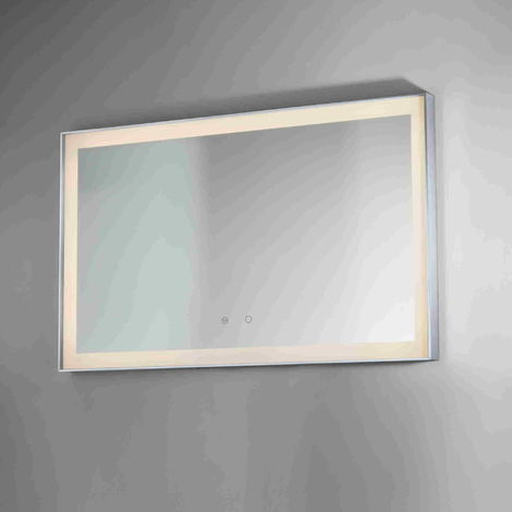BTL Lecco 800x600mm Edge Lit Illuminated Rectangular Mirror Chrome