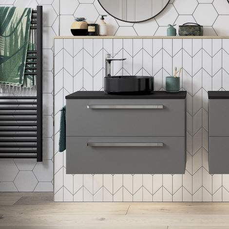 BTL Morina Wall Hung Vanity Unit 2drw 600 Matt Urban Grey - No worktop