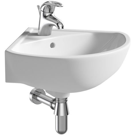 BTL Naples 1TH Corner Basin & Bottle Trap 450 x 450 x 195mm White