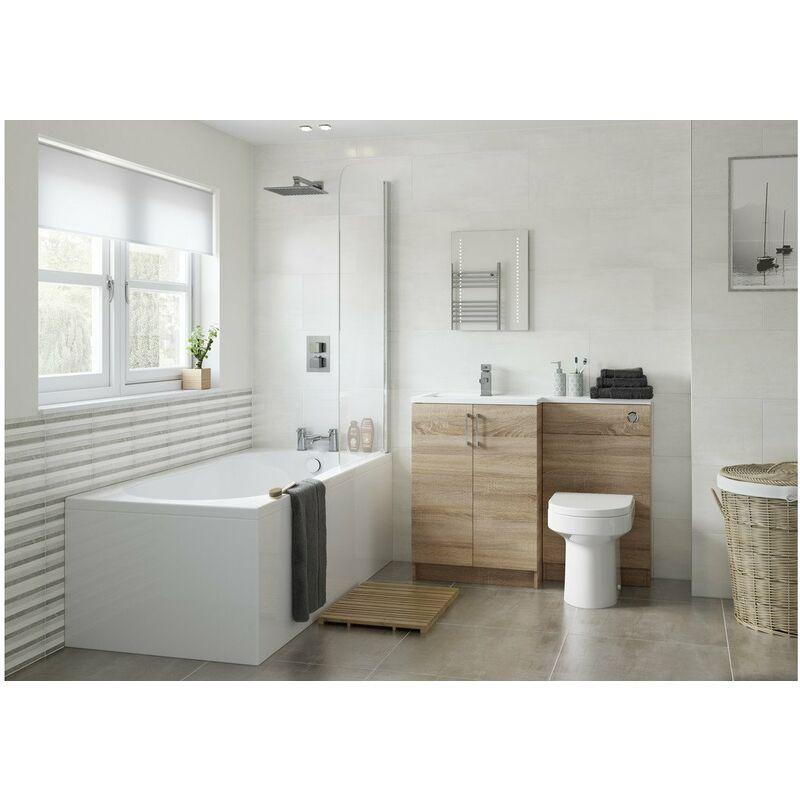 Modern Bathroom 1800 Front /& 750 End Bath Panel Pack 18mm MDF White Gloss Plinth