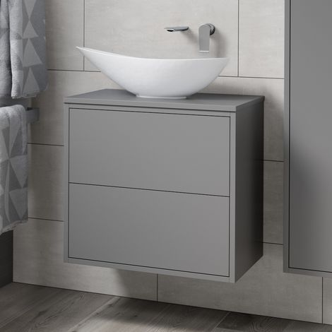 BTL Perla 600mm 2 Drawer Wall Hung Vanity Unit & Top - Matt Grey