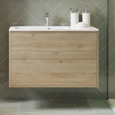 BTL Perla 900mm 2 Drawer Wall Hung Vanity Unit Inc. Basin - Havana Oak