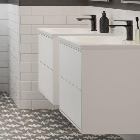 BTL Perla 900mm 2 Drawer Wall Hung Vanity Unit Inc. Basin - Matt White