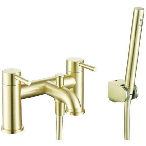 BTL Pesca 2 Tap Hole Deck Mounted Bath Tap with Shower Brushed Brass