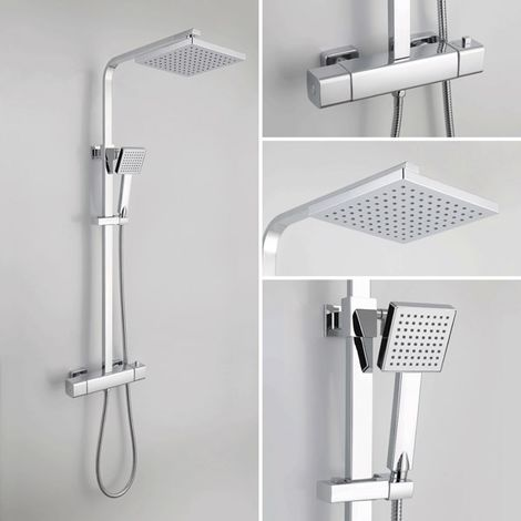 BTL Quadro Cool Touch Exposed Thermostatic Mixer Shower Pole Square