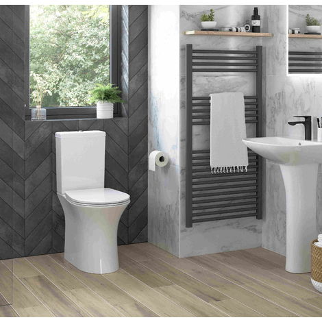 BTL Sandro Rimless Close Coupled Toilet Open Back WC and Soft Close Seat