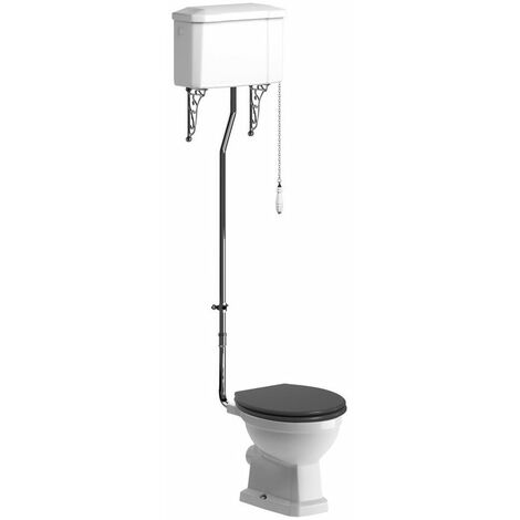 BTL Sherbourne High Level WC and Grey Ash Soft Close Seat