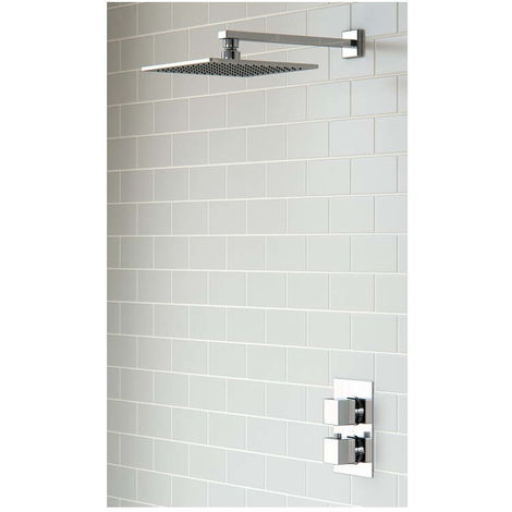 BTL Square Shower Pack 3 Kuba Twin Single Outlet and Overhead Shower