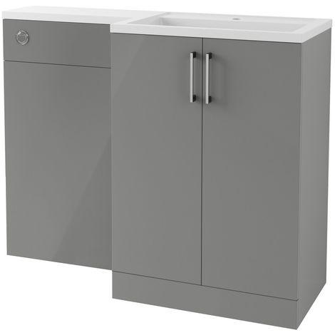 BTL Volta 1100mm Grey Gloss Floor Standing Basin and Toilet Unit RH