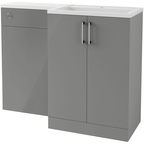 BTL Volta 1100mm Grey Gloss Floor Standing Basin and Toilet Unit RH