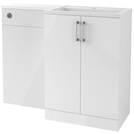 BTL Volta 1100mm White Gloss Floor Standing Basin and Toilet Unit RH