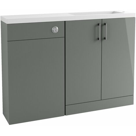BTL Volta 1207mm Grey Gloss Slim Depth Basin and Toilet Unit