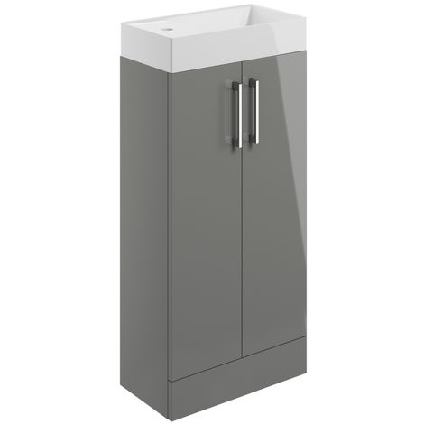 BTL Volta 400mm Floor Standing Cloakroom Basin Vanity Unit Grey Gloss