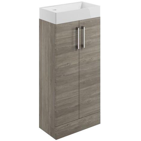 BTL Volta 400mm Floor Standing Cloakroom Basin Vanity Unit Nordic Wood