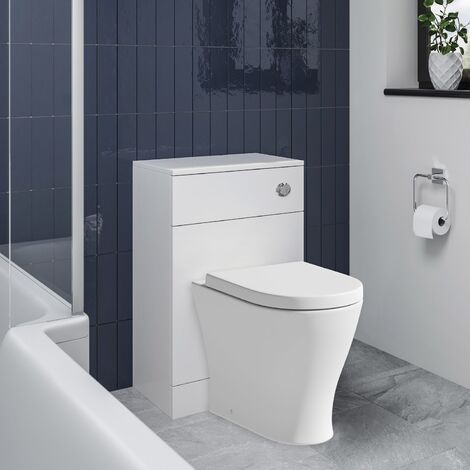 BTW Back to Wall Toilet Pan Concealed Cistern Unit 500mm Soft Close Seat White