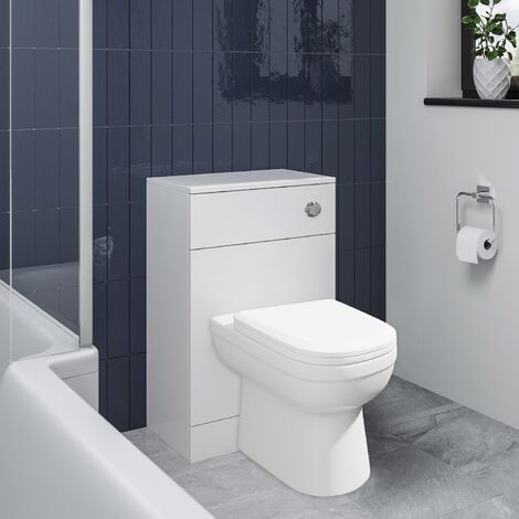 BTW Back To Wall Toilet Pan D-Shape Concealed Cistern Unit 500mm Soft Close Seat