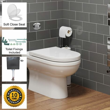 BTW Back To Wall Toilet Pan D-Shape Soft Close Seat Concealed Cistern Dual Flush