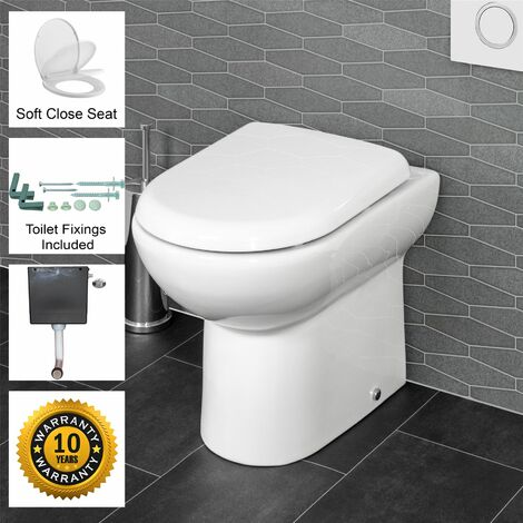 BTW Back to Wall Toilet WC Pan Soft Close Seat Concealed Cistern Floor Fix Kit