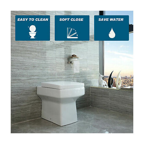 """main image of """"BTW Square Toilet Back To Wall Ceramic Pan Cloakroom Soft Close Seat Bathroom WC Modern"""""""