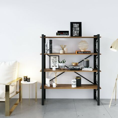 Bubble Buchhandlung - Regal - von Wand, Buero, Wohnzimmer - Schwarz aus Metall, Holz, 120 x 35 x 150 cm, -