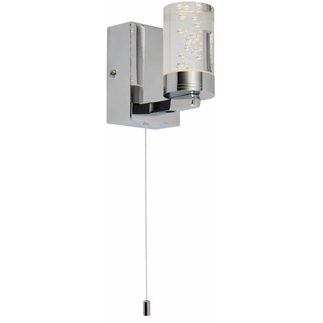 Bubbles led bathroom wall light - chrome. white pull switch