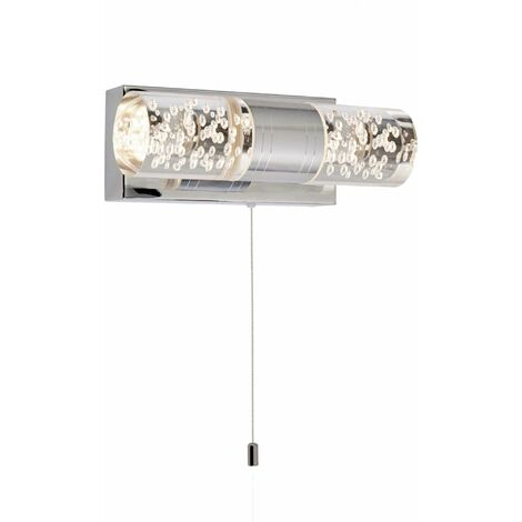 Bubbles led chrome bathroom wall light. white pull switch