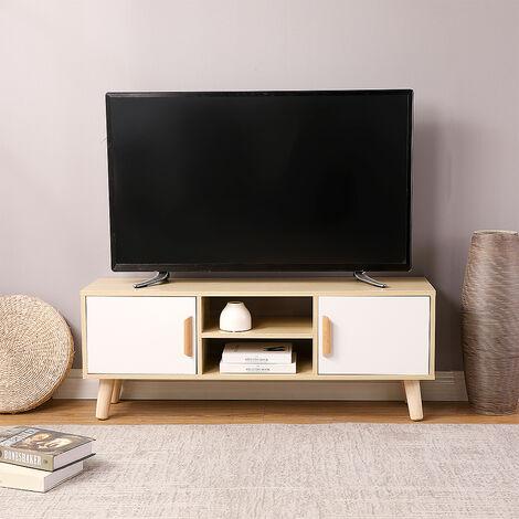 Bûche principale de meuble TV à double porte coulissante en bois et étau blanc 110 * 30 * 42cm - Brown