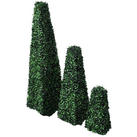 Buchsbaum Pyramide Kunstbaum Kunstpflanze 3er Set