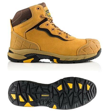 "main image of ""Buckbootz Tradez Blitz Tan Safety Work Boot Lightweight Waterproof S3 Size 9"""