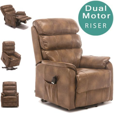 BUCKINGHAM DUAL MOTOR ELECTRIC RISER RECLINER BOND LEATHER - different colors available