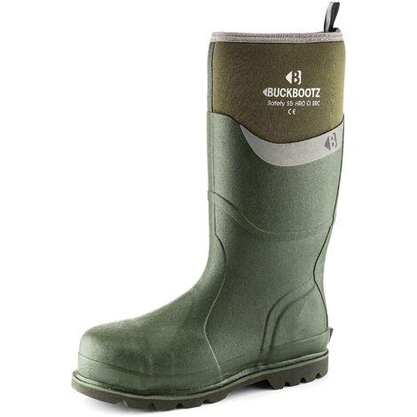 Buckler BBZ6000GR Waterproof Rubber Safety Wellington Boots Green - Size 5