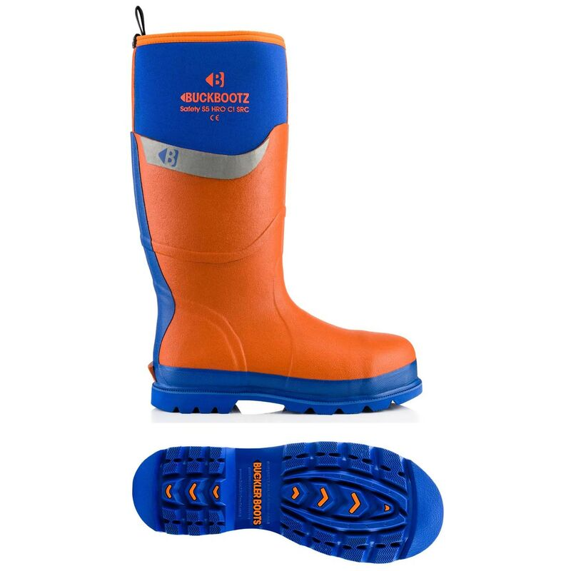 Image of Buckboots Safety Site Wellington Boot Blue Orange Size 7 BBZ6000OR - Buckler Boots