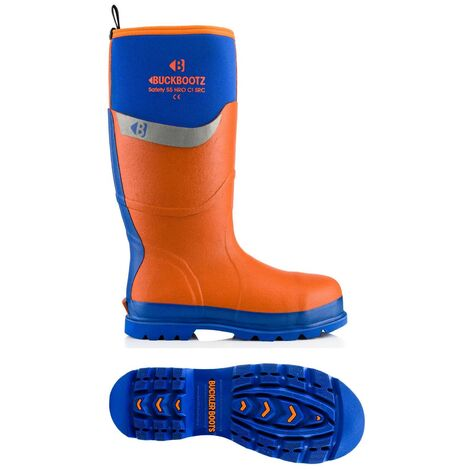 Buckler BBZ6000BL Waterproof Rubber Safety Wellington Boots Orange/Blue (Sizes 5-13) Men's