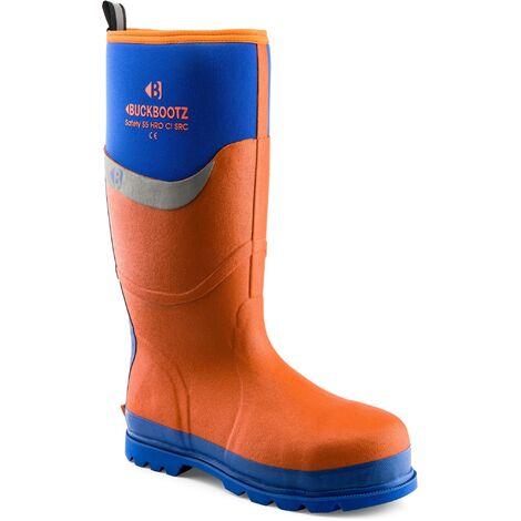 Buckler BBZ6000BL Waterproof Rubber Safety Wellington Boots Orange/Blue (Sizes 5-13) Men\'s