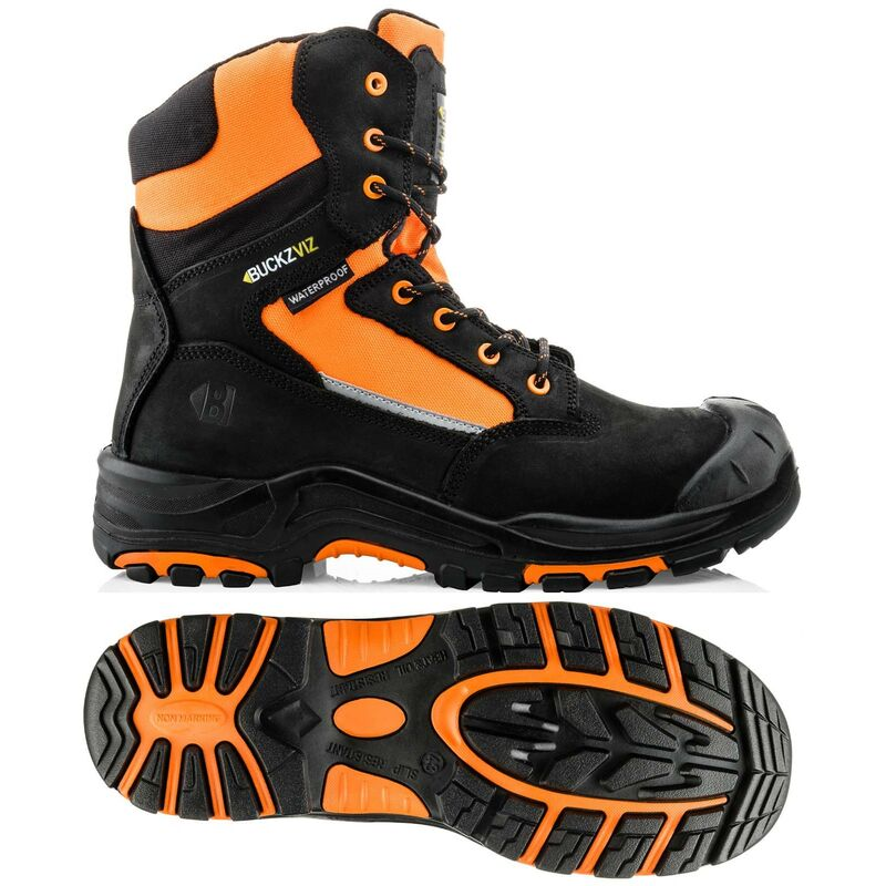 Image of BuckzViz High Support Orange Zip Lace Safety Work Boot UK Sizes 12 - Buckler Boots