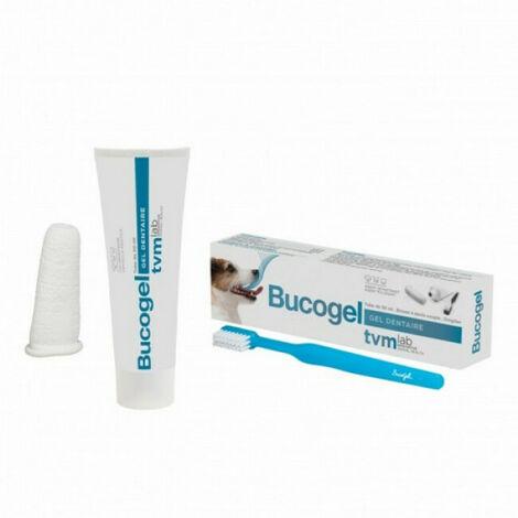 Bucogel soin et hygiène dentaire pour chiens Adulte Tube 50 ml + Doigtier + Brosse