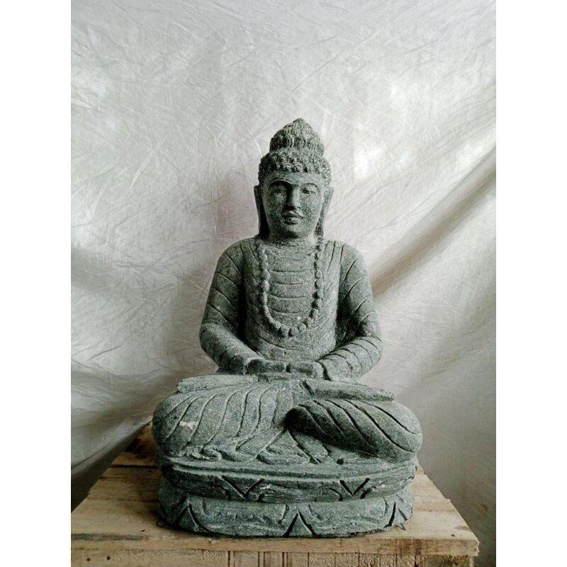 Buda de piedra volcánica en posición de ofrenda para jardín 50 cm - WANDA COLLECTION